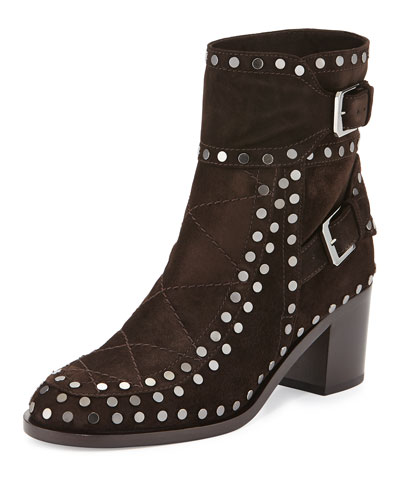 Gatsby Studded Ankle Boot, Dark Brown