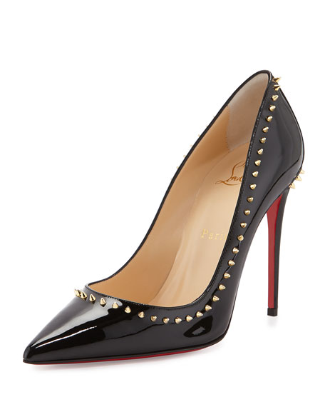 fba9d8d897a Anjalina Spike Patent Red Sole Pump Black/Golden