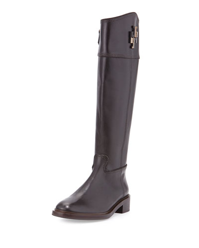 Lowell Logo Riding Boot, Coconut