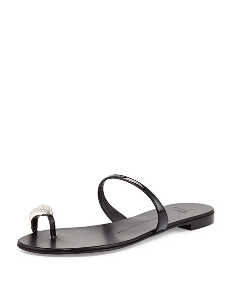 4498600e09a64 Giuseppe Zanotti Patent Toe-Ring Flat Sandal, Nero
