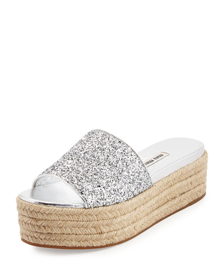 e0ede834e923 Miu Miu Glitter Platform Espadrille Slide Sandal