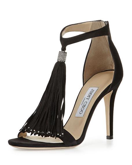2c641edb556b ... coupon for jimmy choo viola suede tassel sandal black 8e891 1fa4d