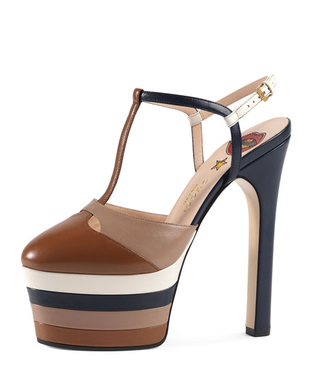 7b78e8559f5 Angel Colorblock Leather Platform Pump Cuir/Rose/Blue/White