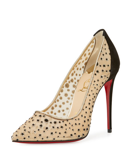 Christian Louboutin Follies Lace 100mm Red Sole Pump 82e397934