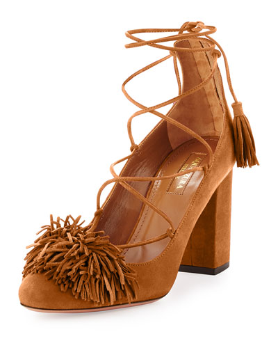 Wild Thing Fringe Block-Heel Pump, Cognac
