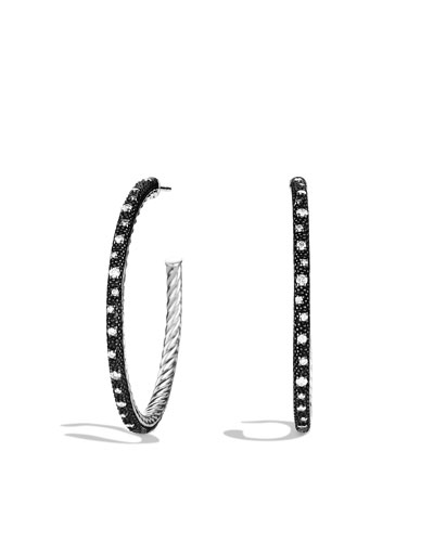 Midnight Mélange Large Hoop Earrings with Diamonds