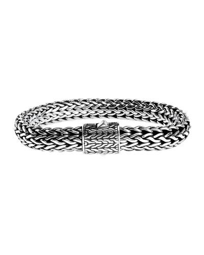 Classic Chain 7.5mm Medium Braided Silver Bracelet