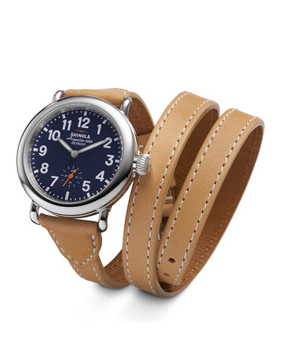 Runwell Leather Triple-Wrap Watch, 36mm