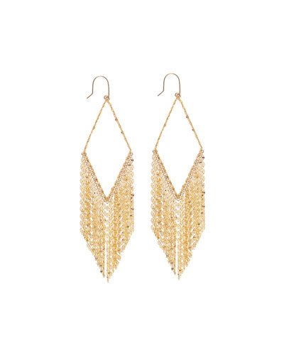 14k Diamond-Shaped Fringe Hoop Earrings