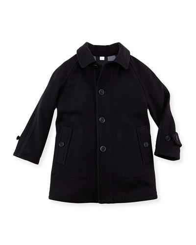 Boys Wool Trench Coat, Navy, 4Y-10Y