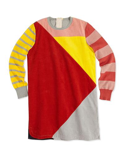 Colorblock Corduroy Shirt Dress, 2Y-14Y