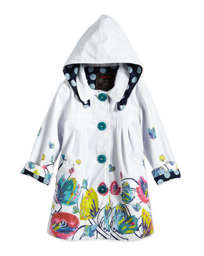 Butterfly-Print Hooded Raincoat, White/Multicolor, Size 3-6