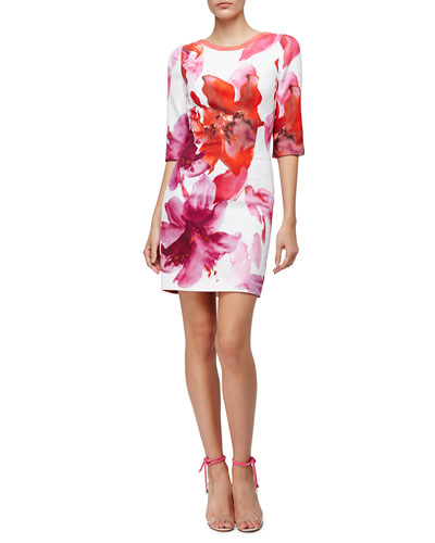 3/4-Sleeve Lily Sheath Dress, Pink Floral