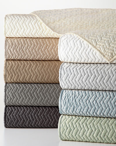 King Vannerie Quilted Satin Coverlet