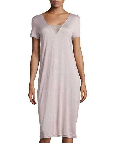 Umbria Short-Sleeve Gown, Maple Sugar