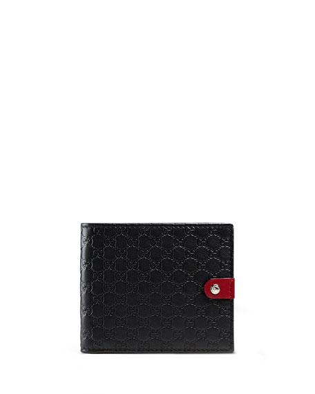 e06213465d93 Gucci Microguccissima Leather Bi-Fold Wallet, Black/Red