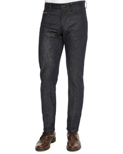 Stretch-Denim Jeans with Leather Detail