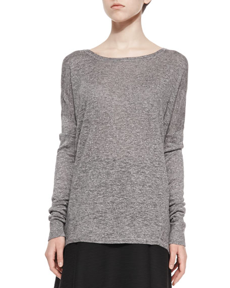 Vince Textured Long-Sleeve Boat-Neck Top