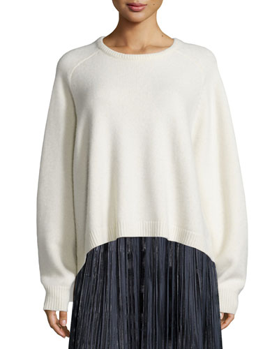 Cashmere Cozy Rib-Trim Pullover Sweater, Ivory