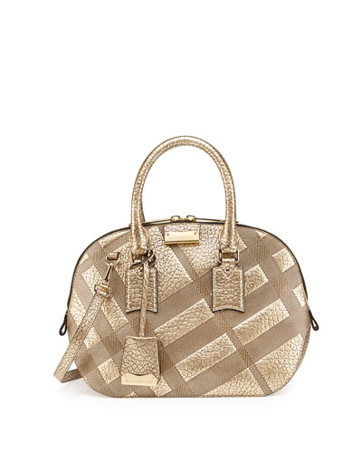Check-Embossed Leather Satchel Bag, Gold