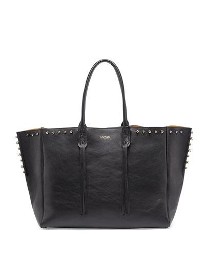 Studded Leather Fringe Tote Bag, Black