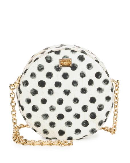Dolce   Gabbana Glam Polka-Dot Round Crossbody Bag 0f37c296dd1cc