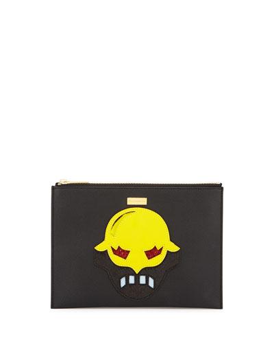 Super Hero Small Zip Clutch Bag, Black/Yellow