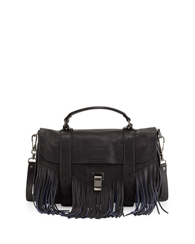 PS1 Medium Bicolor Fringe Crossbody Satchel Bag, Black/Blue