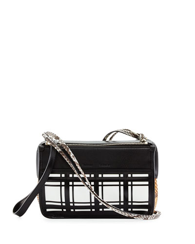 PS Z Windowpane Plaid Crossbody Bag, Black/Orange