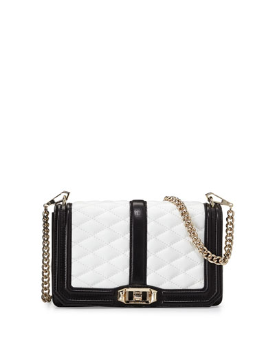 Love Quilted Crossbody Bag, Black/White