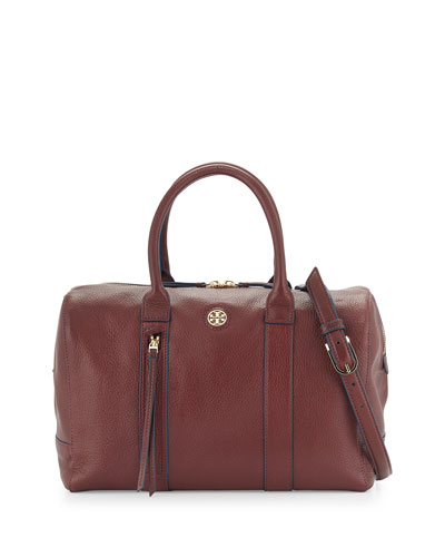 Brody Leather Satchel Bag, Deep Berry