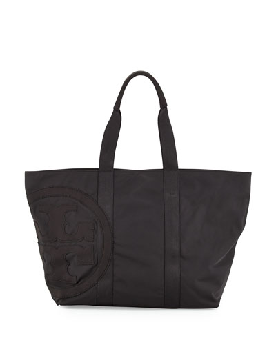 Penn Nylon Mid-Zip Tote Bag, Black