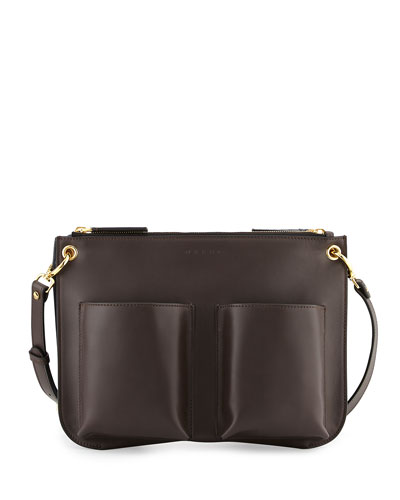 Bandoleer Multicolor Shoulder Bag, Navy/Brown/Black