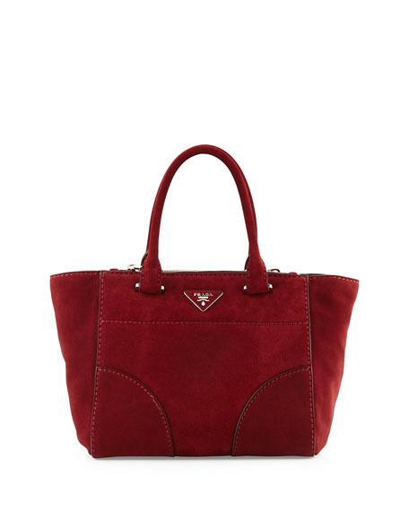 fc82c0bbf67 Prada Suede Small Twin-Pocket Tote Bag, Dark Red (Porpo)
