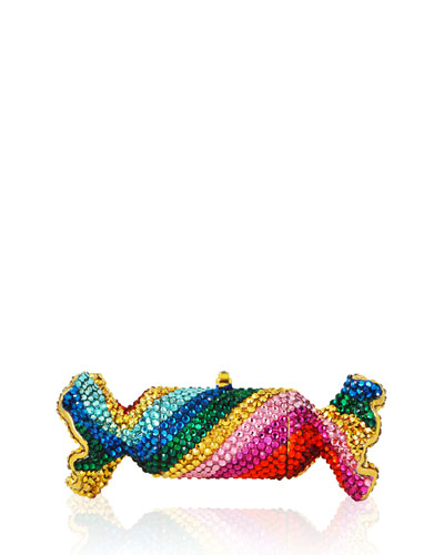 Rainbow Twist Crystal Candy Pillbox, Gold/Multi