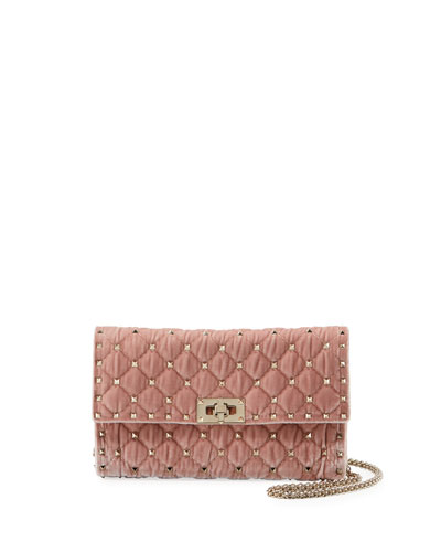 Rockstud Spike Quilted Velvet Wallet on Chain