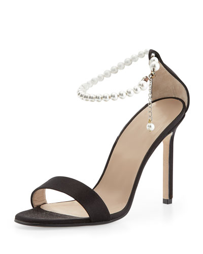 Chaos Pearly Ankle-Wrap Sandal, Black