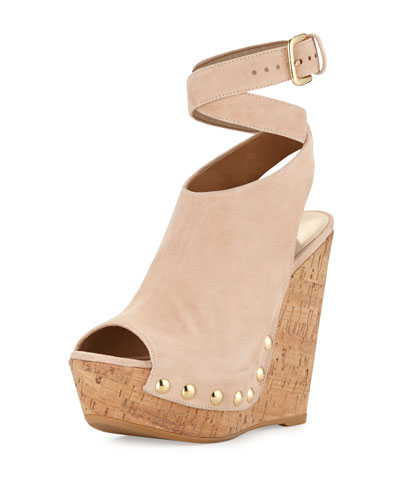 Wrap Up Suede Wedge Sandal, Bisque