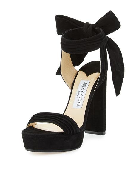 fbdf937a4980 ... authentic jimmy choo kaytrin suede 120mm platform sandal black 4c941  f1c8b