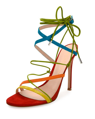 Strappy Suede 105mm Sandal, Multi