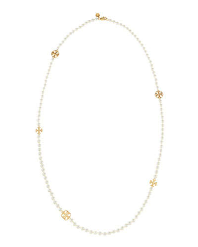 Evie Long Logo-Station Pearly Necklace