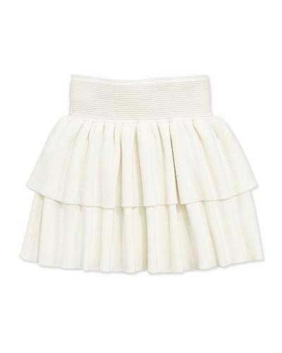 Ruffled Rib-Knit Tiered Skirt, White, Sizes 8-12