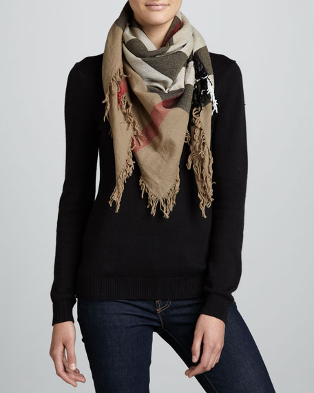 Check Extrafine Wool Scarf, House