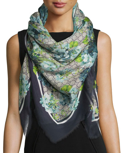New Blooms GG-Print Square Shawl, Blue