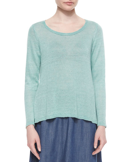 Eileen Fisher Long-Sleeve Linen Delave Box Top