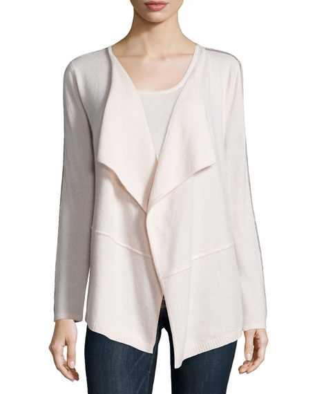 Neiman Marcus Cashmere Collection Draped Cardigan with Chain