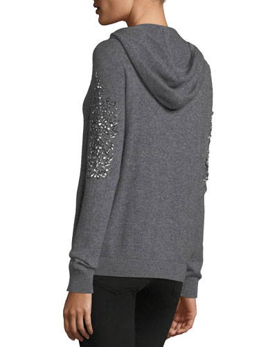 Embellished Zip-Front Cashmere Hoodie