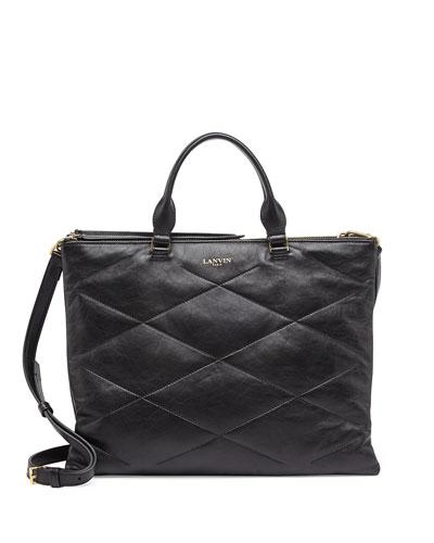 Quilted Sugar Tote Bag, Black