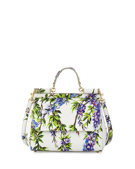 582bb485e393 Dolce   Gabbana Miss Sicily Floral-Print Satchel Bag