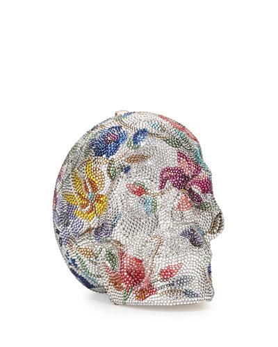Floral Skull Crystal Clutch